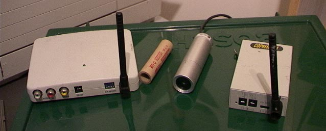 CCD bullet or lipstick camera, microwave video transmitter and receiver
